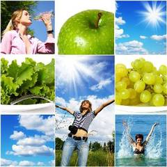 Elements of a healthy lifestyle:Water - Air - Sun - Vegetables - Fruits -Physical Exercise